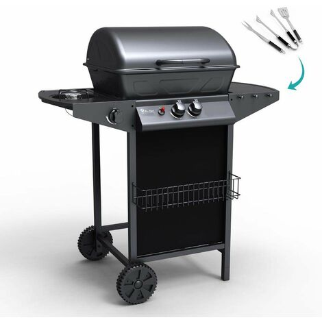 Barbecue au gaz en acier inox avec 2 + 1 brûleurs et grille HOLSTEIN