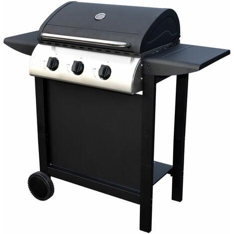 Barbecue au gaz HAWAÏ - 3 brûleurs 8,4kW - Noir