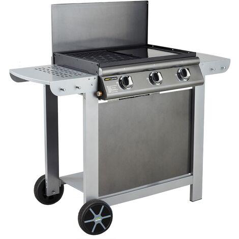 Barbecue au Gaz Mixte 3 Bruleurs - Cook'in Garden - 2 en 1 Grill et Plancha - Surface de Cuisson : 2573 cm² - Puissance : 10,5 kW - Puerta Luna