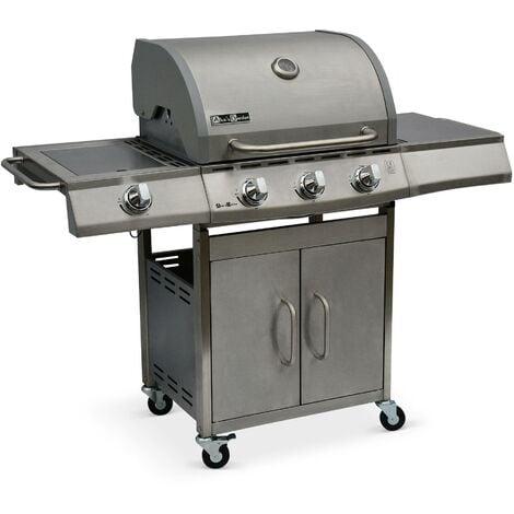 Barbecue au gaz Richelieu Inox, 4 brûleurs dont 1 feu latéral 14kW, côté grill et plancha