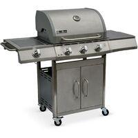 Barbecue au gaz Richelieu Inox, 4 brûleurs dont 1 feu latéral 14kW, côté grill et plancha, cuisine extérieure