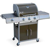 Barbecue au gaz Richelieu Marron, 4 brûleurs dont 1 feu latéral 14kW, côté grill et plancha, cuisine extérieure
