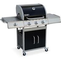 Barbecue au gaz Richelieu noir, 4 brûleurs dont 1 feu latéral 14kW, côté grill et plancha