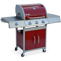 Barbecue au gaz Richelieu rouge, 4 brûleurs dont 1 feu latéral 14kW, côté grill et plancha, cuisine extérieure