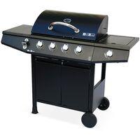 Barbecue au gaz Treville noir - 4 brûleurs + feu latéral, avec thermomètre - cuisine extérieure