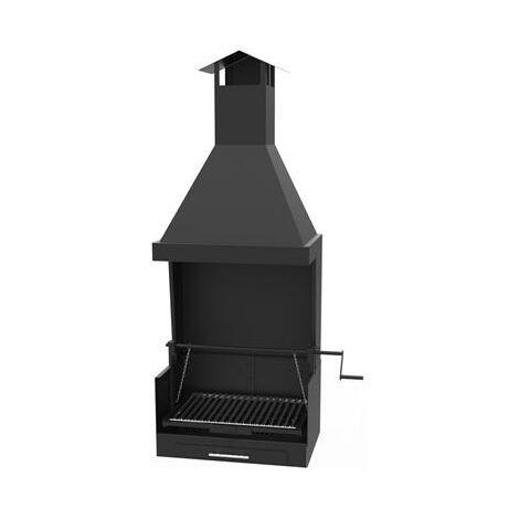 Barbecue avec hotte sur chariot en acier au carbone 72x40x156cm,