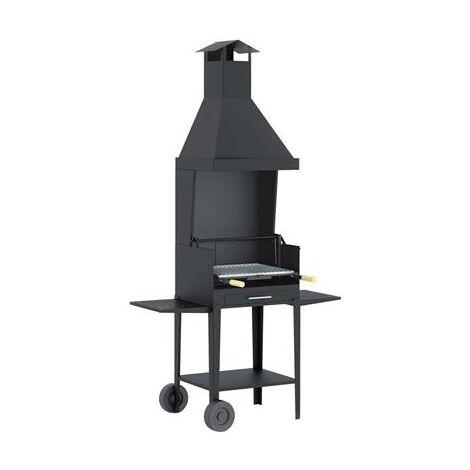 Barbecue avec hotte sur chariot en acier au carbone cuisson 55x40cm