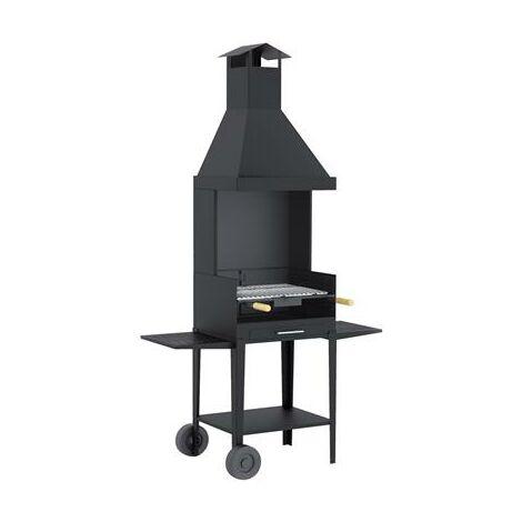 Barbecue avec hotte sur chariot en acier au carbone cuisson 58,5x40cm