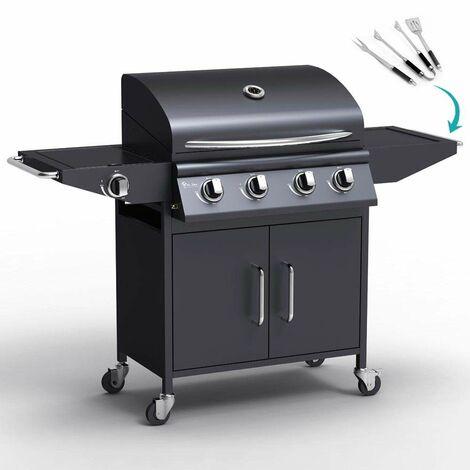 Barbecue BBQ professionale a gas in acciaio inox con 4+1 bruciatori e griglia RED ANGUS