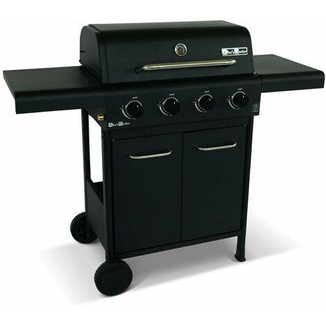 Barbecue BONACIEUX noir et inox au gaz 4 brûleurs avec rangement 2 tablettes rabattables 2 roues PVC