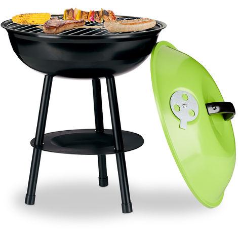 Barbecue boule diamètre 36 cm, Barbecue à charbon, couvercle et aération, collecteur de cendre, petit modèle