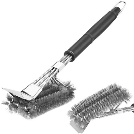 """Barbecue brush, 18 """"Improved 3 in 1 stainless steel wire with scraper, 360 ° barbecue cleaning for charcoal grill and barbecue"""
