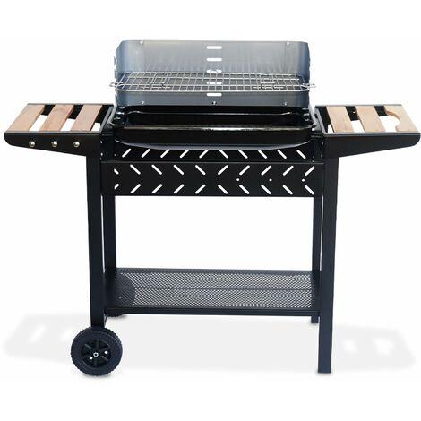 Barbecue charbon Alfred noir et gris, cuve émaillée, tablettes latérales bois, hauteur de grille ajustable