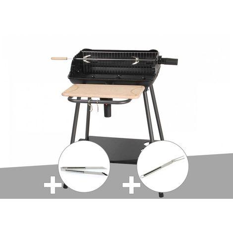 Barbecue charbon Bergamo Somagic + Pince en inox + Fourchette en inox