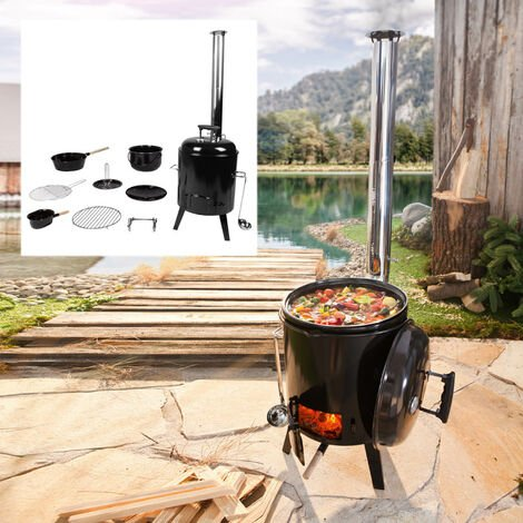 """main image of """"Barbecue charbon bois portable (8 pcs) pour été&hiver: cuire, rôtir, griller, rôtir de la volaille et faire mijoter en 1 appareil – barbecue bois de BRAST"""""""