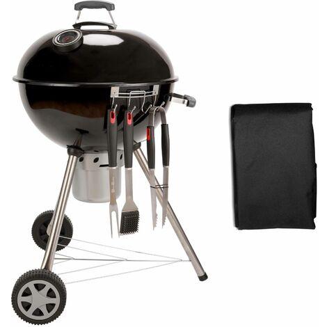 Barbecue charbon de bois Ø53cm. Charles + accessoires offerts - noir émaillé. avec aérateurs. émaillé. fumoir. récupérateur de cendres + housse. rack et ustensiles offerts