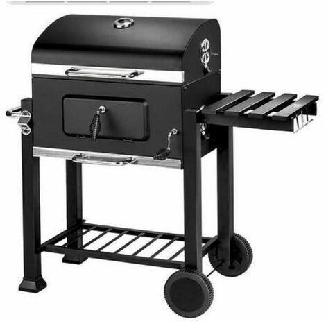 Barbecue Charbon de Bois à 2 Roues 2 Grilles et 1 Thermomètre en Métal Noir - cylindrique