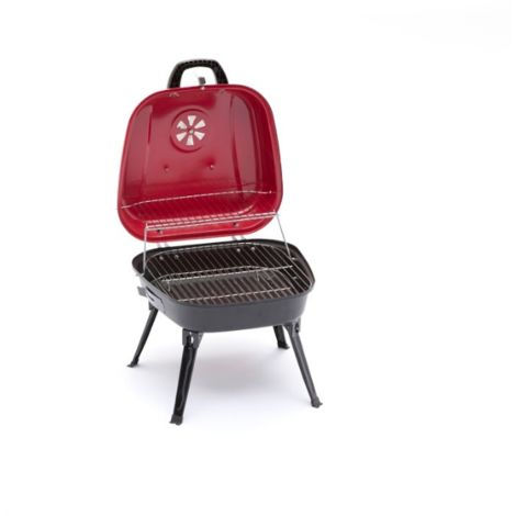 Barbecue charbon de bois Evo en acier avec pieds pliables | noir