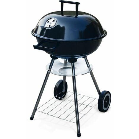 Barbecue charbon de bois Fernand ⌀41cm noir, fumoir boule, récupérateur de cendre, roulettes