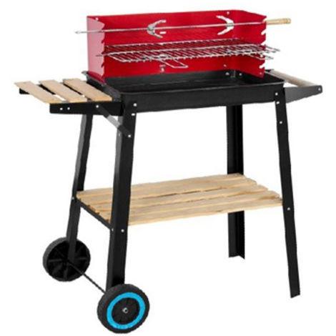 Barbecue charbon en acier et bois coloris noir/rouge - Dim : 84 x 45 x 87 cm