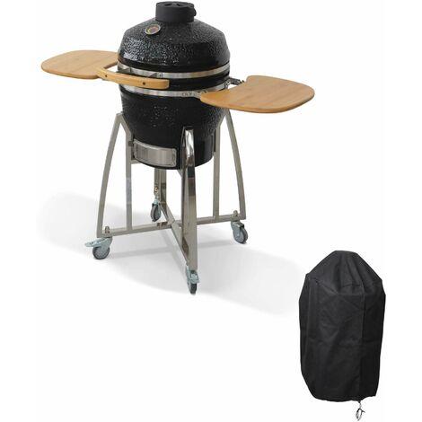Barbecue charbon en céramique. Kamado Ø45cm. avec chariot et housse. tablettes rétractables