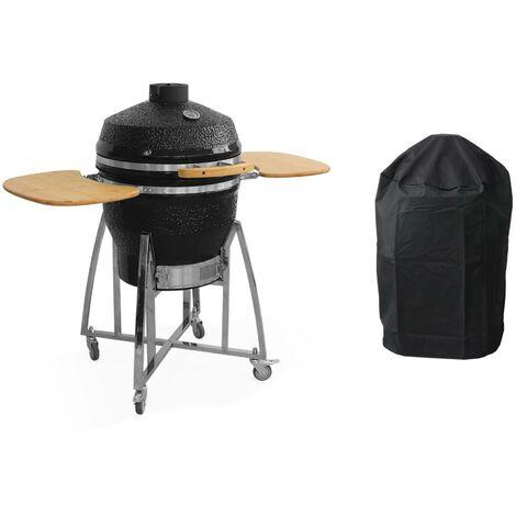 Barbecue charbon en céramique. Kamado Ø57cm. avec chariot. pierre à pizza. garde au chaud. récupérateur de cendre et housse. tablettes rétractables