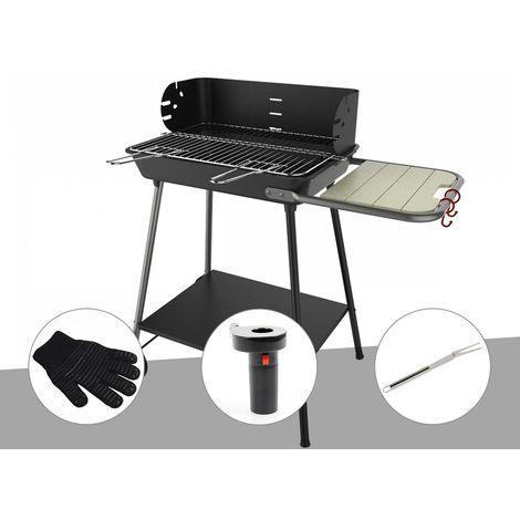 Barbecue charbon Florence Somagic + Gant de protection + Soufflerie à piles + Fourchette en inox