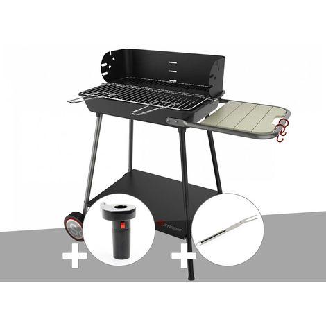 Barbecue charbon Florence Somagic + Soufflerie à piles + Fourchette en inox