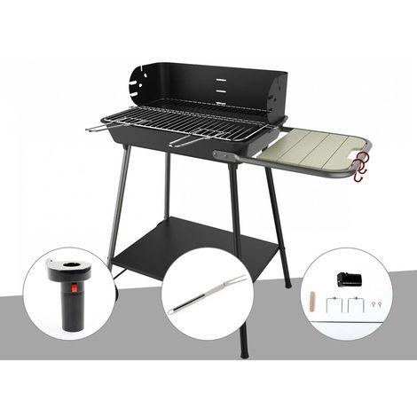 Barbecue charbon Florence Somagic + Soufflerie à piles + Fourchette en inox + Kit tournebroche