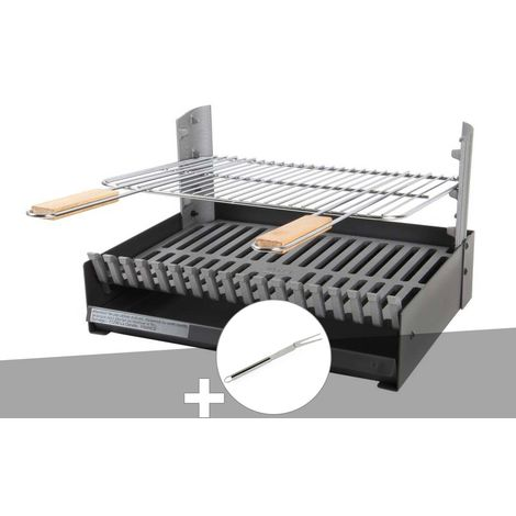 Barbecue charbon - Grilloir à poser Somagic + Fourchette en inox