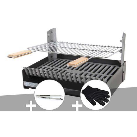 Barbecue charbon - Grilloir à poser Somagic + Pince en inox + Gant de protection
