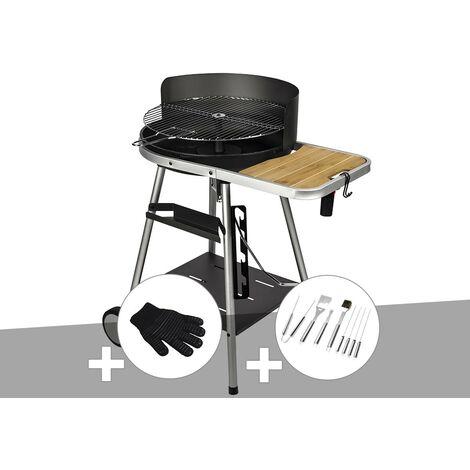 Barbecue charbon Port Grimaud Somagic + Gant de protection + Malette 8 accessoires inox