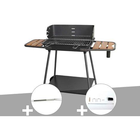 Barbecue charbon Promenade Somagic + Fourchette en inox + Kit tournebroche