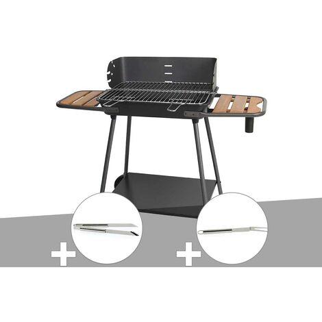 Barbecue charbon Promenade Somagic + Pince en inox + Fourchette en inox