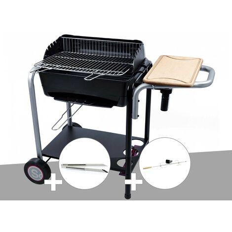 Barbecue charbon Roma Somagic + Pince inox + Kit tournebroche