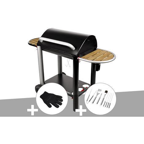 Barbecue charbon Vulcano 3000 Somagic + Gant de protection + Malette 8 accessoires inox