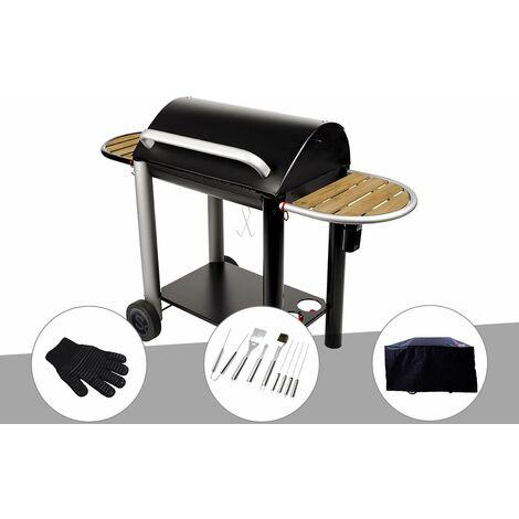 Barbecue charbon Vulcano 3000 Somagic + Gant de protection + Malette 8 accessoires inox + Housse
