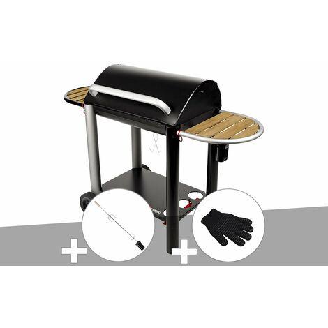 Barbecue charbon Vulcano 3000 Somagic + Kit tournebroche + Gant de protection