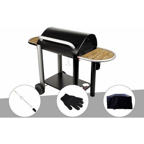 Barbecue charbon Vulcano 3000 Somagic + Kit tournebroche + Gant de protection + Housse