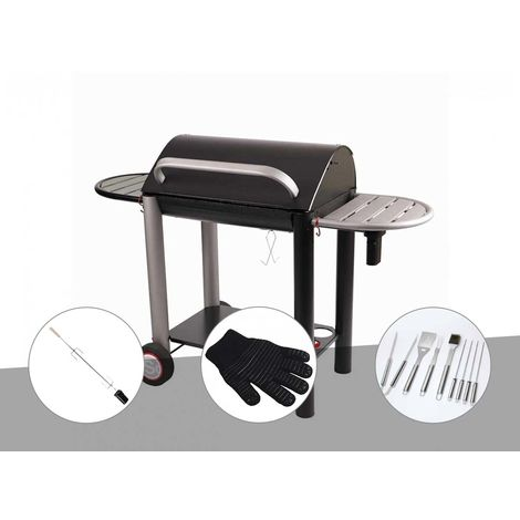 Barbecue charbon Vulcano 3000 Somagic + Kit tournebroche + Gant de protection + Malette 8 accessoires inox