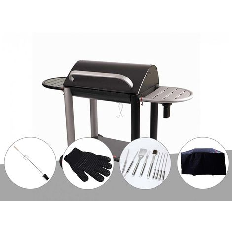 Barbecue charbon Vulcano 3000 Somagic + Kit tournebroche + Gant de protection + Malette 8 accessoires inox + Housse