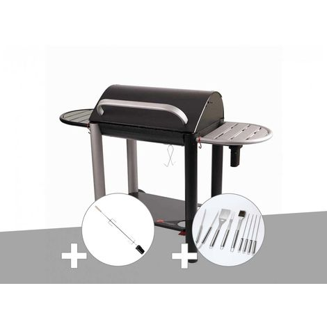 Barbecue charbon Vulcano 3000 Somagic + Kit tournebroche + Malette 8 accessoires inox