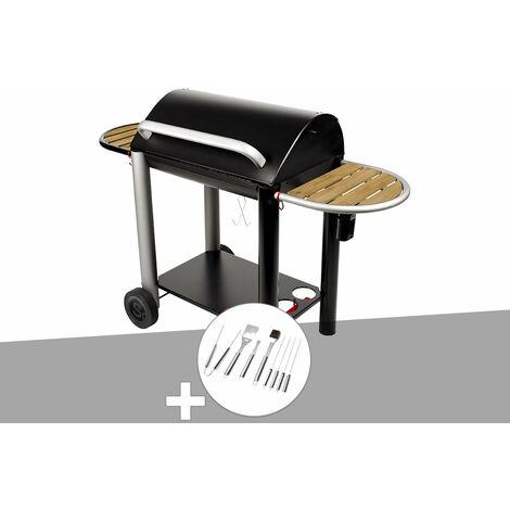 Barbecue charbon Vulcano 3000 Somagic + Malette 8 accessoires inox