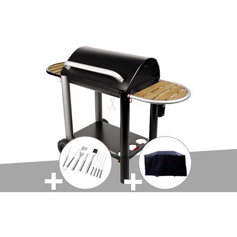 Barbecue charbon Vulcano 3000 Somagic + Malette 8 accessoires inox + Housse