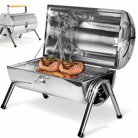 Tavolo Da Giardino Con Barbecue.Barbecue Da Tavolo Con Griglia In Acciaio Inox Grill Carbonella