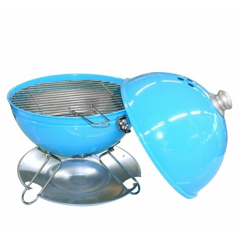 Barbecue de table avec couvercle - D 29 cm - Bleu turquoise