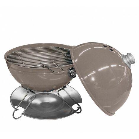 Barbecue de table avec couvercle - D 29 cm - Taupe