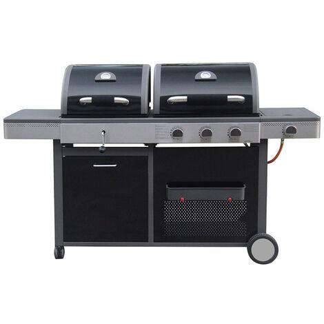 Barbecue double à gaz et à charbon Noir 58.00 cm x 179.00 cm x 105.00 cm - Noir