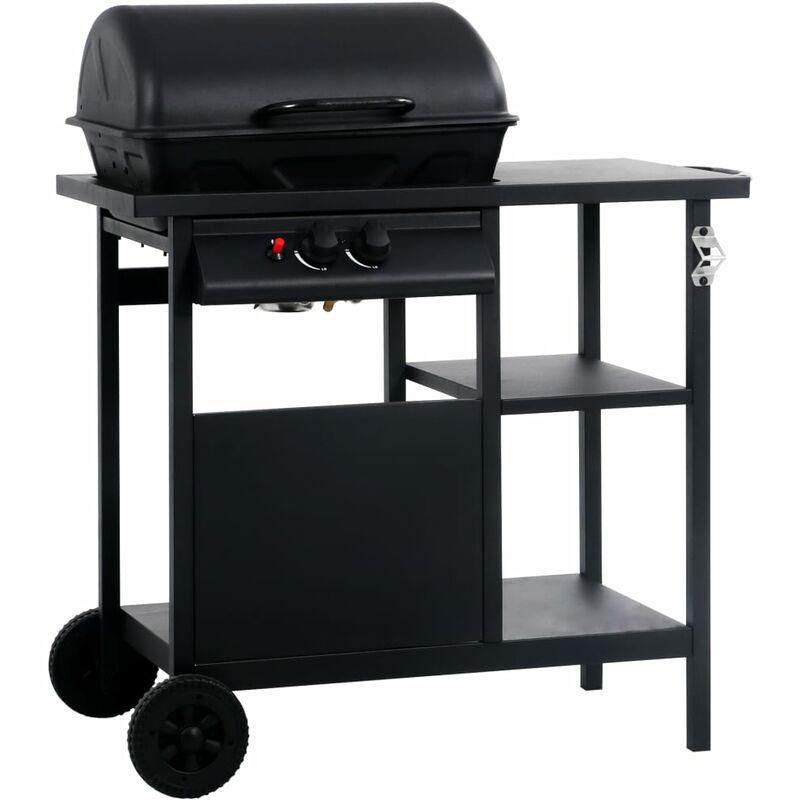 Barbecue e Griglia a Gas con 3 Ripiani e Tavolino Nero - Nero - Vidaxl