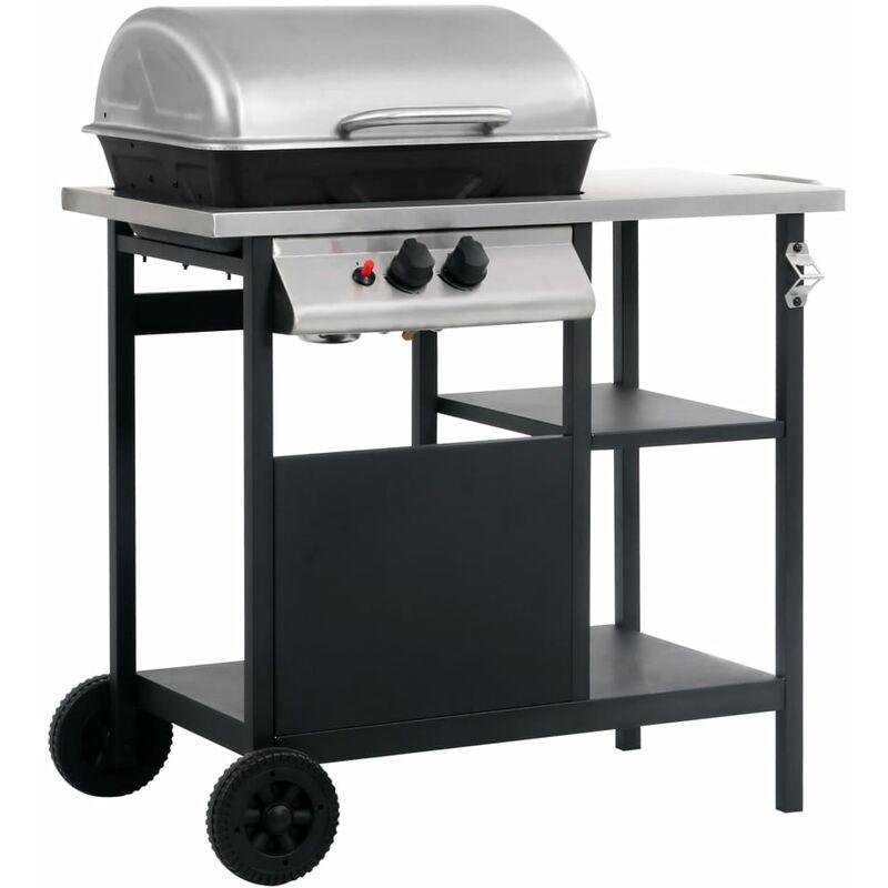 Barbecue e Griglia a Gas con 3 Ripiani e Tavolino Nero e Argento - Nero - Vidaxl